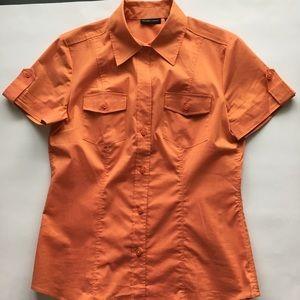New York & Company Orange Short Sleeve Top S